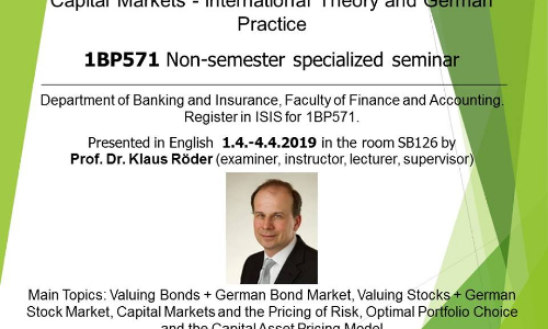Capital Markets – International Theory and German Practice
